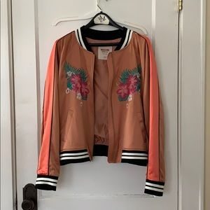 Mossimo orange bomber jacket with floral print